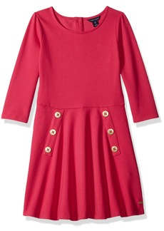 Tommy Hilfiger Girls' Big 3/4 Solid Pique Dress