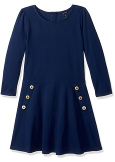 Tommy Hilfiger Big Girls' 3/4th Sleeve Solid Pique Dress  M