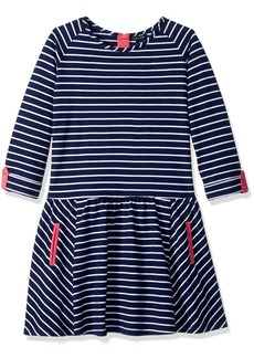 Tommy Hilfiger Big Girls' 3/4th Sleeve Stripe Dress  L