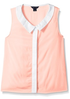 Tommy Hilfiger Big Girls' Colorblock Collared Tank