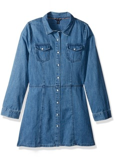 Tommy Hilfiger Girls' Big Denim Dress Medium wash