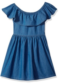 Tommy Hilfiger Girls' Big Denim Off The Shoulder Dress  M