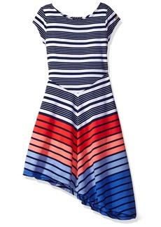 Tommy Hilfiger Big Girls' Multi Directional Stripe Dress  M