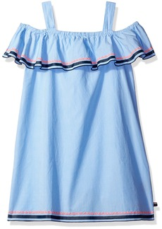 Tommy Hilfiger Big Girls' Off The Shoulder Ruffle Dress Azure Blue S