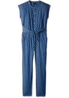 Tommy Hilfiger Girls' Big Printed Jumpsuit Parisian Blue