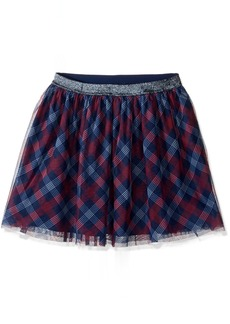 Tommy Hilfiger Big Girls' Printed Plaid Skirt Flag Blue Large/12/14