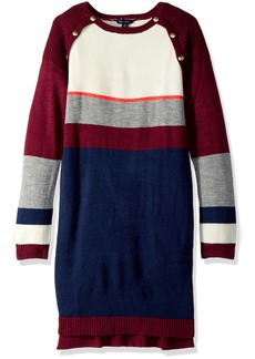 Tommy Hilfiger Girls' Big Raglan Button Sweater Dress
