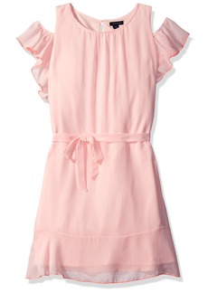 Tommy Hilfiger Girls' Big Ruffle Cold Shoulder Dress  L