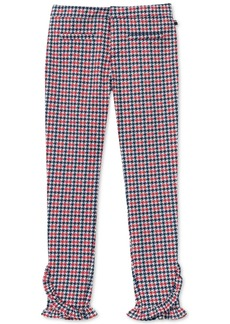Tommy Hilfiger Big Girls Ruffle-Trim Houndstooth Ponte-Knit Pants