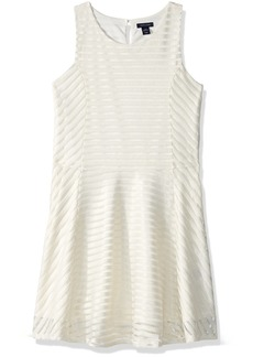 Tommy Hilfiger Girls' Big Sheer Directional Stripe Dress