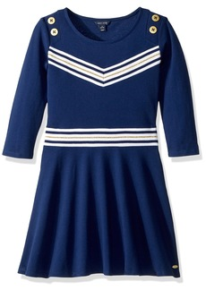 Tommy Hilfiger Girls' Big Solid Dress with Rib Waistband