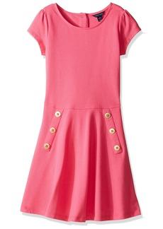 Tommy Hilfiger Big Girls' Solid Short Sleeve Pique Dress  M