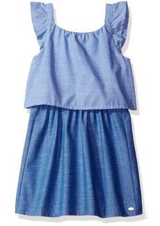 Tommy Hilfiger Big Girls' Two Tone Tiered Chambray Dress