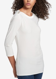 Tommy Hilfiger Boat-Neck Button-Detail Top, Created for Macy's