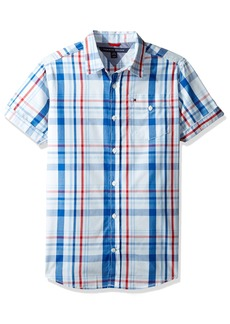 Tommy Hilfiger Boys' Big Short Sleeve Plaid Woven Shirt