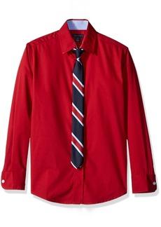Tommy Hilfiger Big Boys' Stretch Plaid Shirt with Straight Tie Red