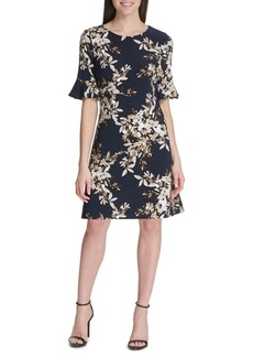 Tommy Hilfiger Brushstroke Bouquet Flutter-Sleeve Jersey Dress