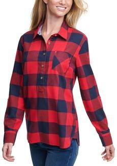 Tommy Hilfiger Buffalo Plaid Cotton Roll-Tab-Sleeve Top