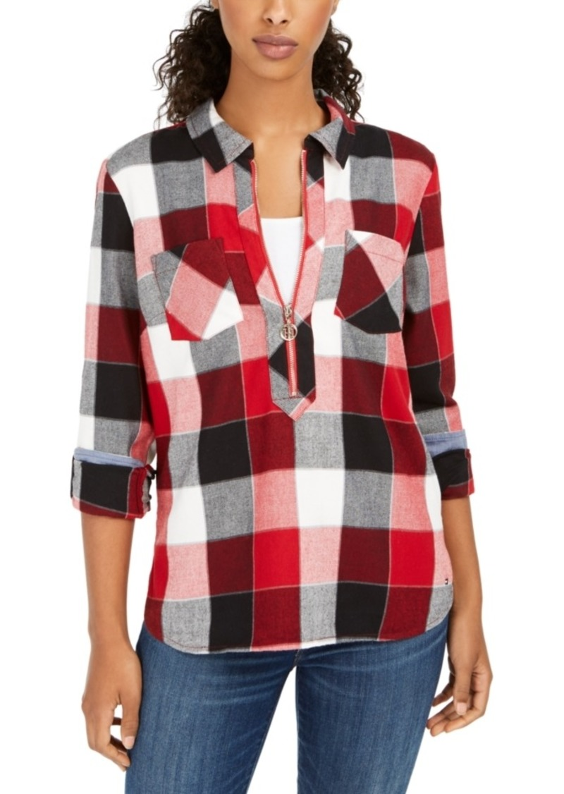 Tommy Hilfiger Buffalo Plaid Zip-Up Popover Shirt
