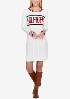 Tommy Hilfiger Cable-Knit Logo Sweater Dress, Created for Macy's