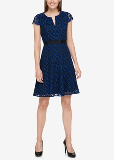 Tommy Hilfiger Cap-Sleeve Lace Fit & Flare Dress