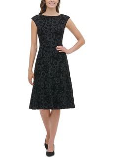 Tommy Hilfiger Cap-Sleeve Velvet Burnout Dress