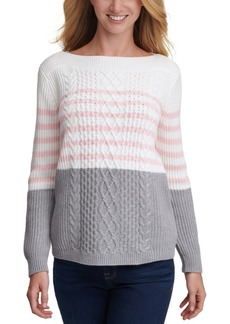 Tommy Hilfiger Cate Veri Striped Cable-Knit Sweater