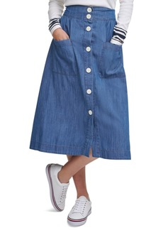 Tommy Hilfiger Chambray Midi Skirt