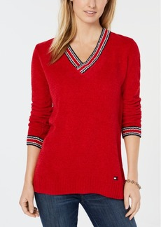 Tommy Hilfiger Chenille V-Neck Logo Sweater, Created for Macy's