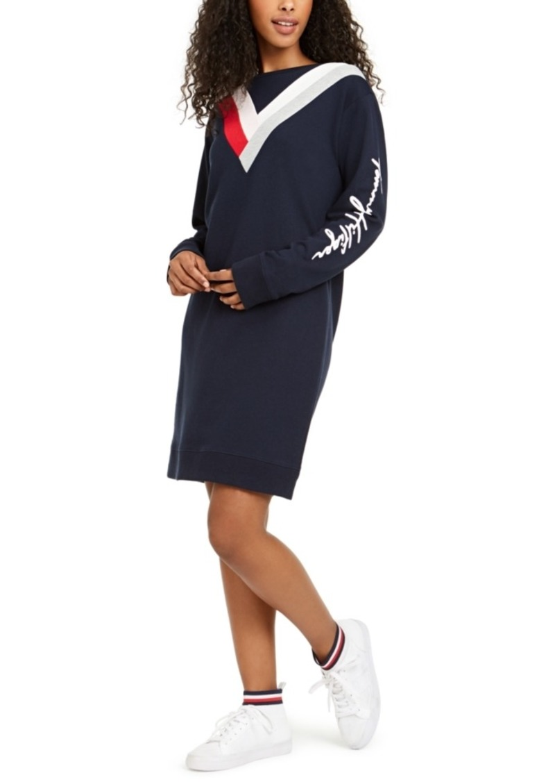 Tommy Hilfiger Chevron Sweatshirt Dress