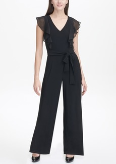 Tommy Hilfiger Chiffon V-Neck Jersey Jumpsuit with Flutter Sleeves