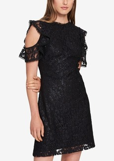 Tommy Hilfiger Cold-Shoulder Glitter Lace Dress, Created for Macy's