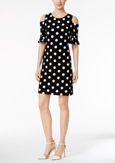 Tommy Hilfiger Cold-Shoulder Polka-Dot Sheath Dress