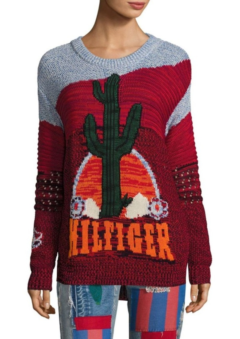 Tommy Hilfiger Collection Runway Intarsia Cactus Long Sleeve Sweater