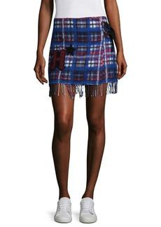 Tommy Hilfiger Tartan Fringe Mini Skirt