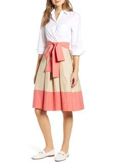 Tommy Hilfiger Colorblock Cotton Blend Shirtdress