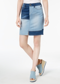 Tommy Hilfiger Colorblocked Denim Skirt, Created for Macy's