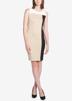 Tommy Hilfiger Colorblocked Grommet-Trimmed Sheath Dress