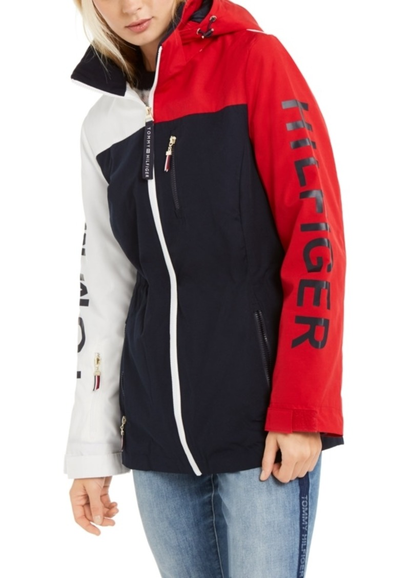 Tommy Hilfiger Colorblocked Hooded Logo Rain Jacket