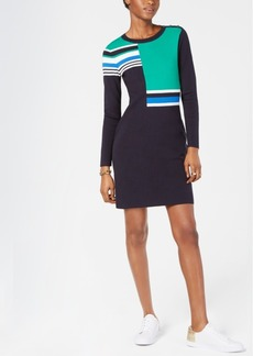 Tommy Hilfiger Colorblocked-Knit Sweater Dress, Created for Macy's