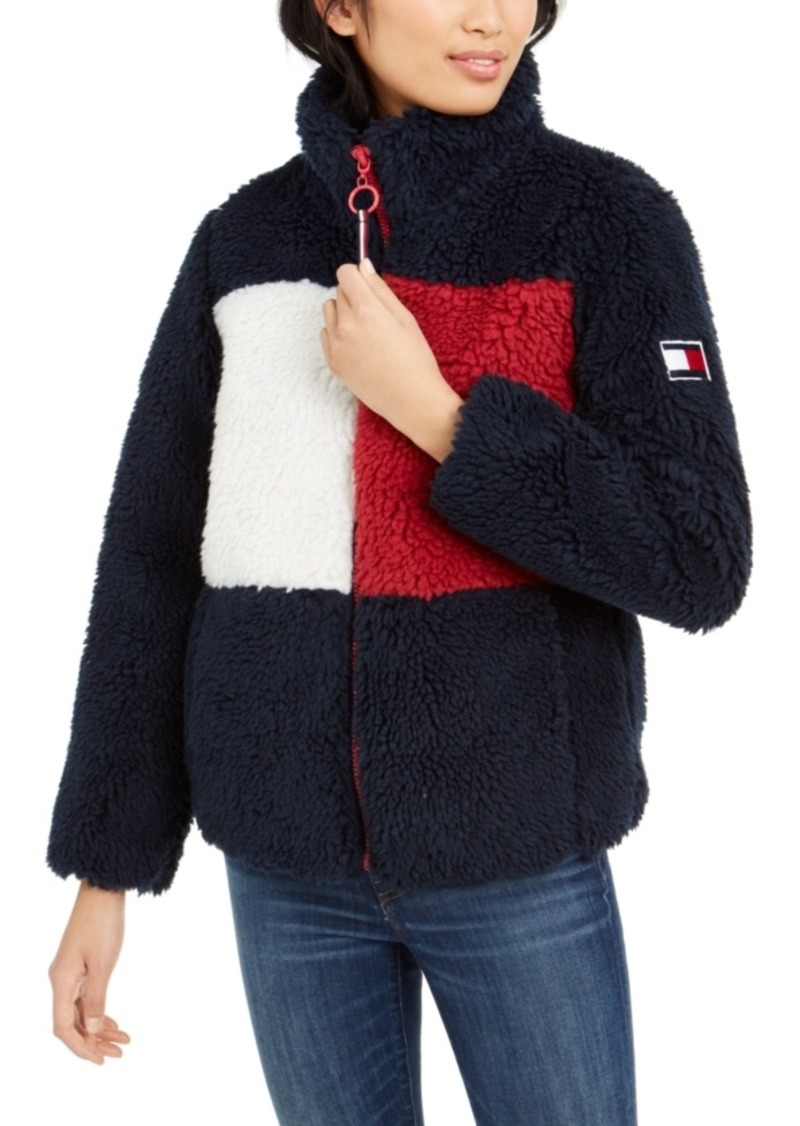 Tommy Hilfiger Colorblocked Logo Shearling Jacket