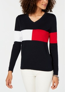 Tommy Hilfiger Colorblocked V-Neck Cotton Sweater, Created for Macy's
