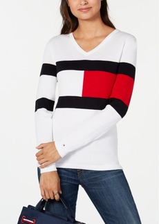 Tommy Hilfiger Ivy Logo V-Neck Cotton Sweater, Created for Macy's