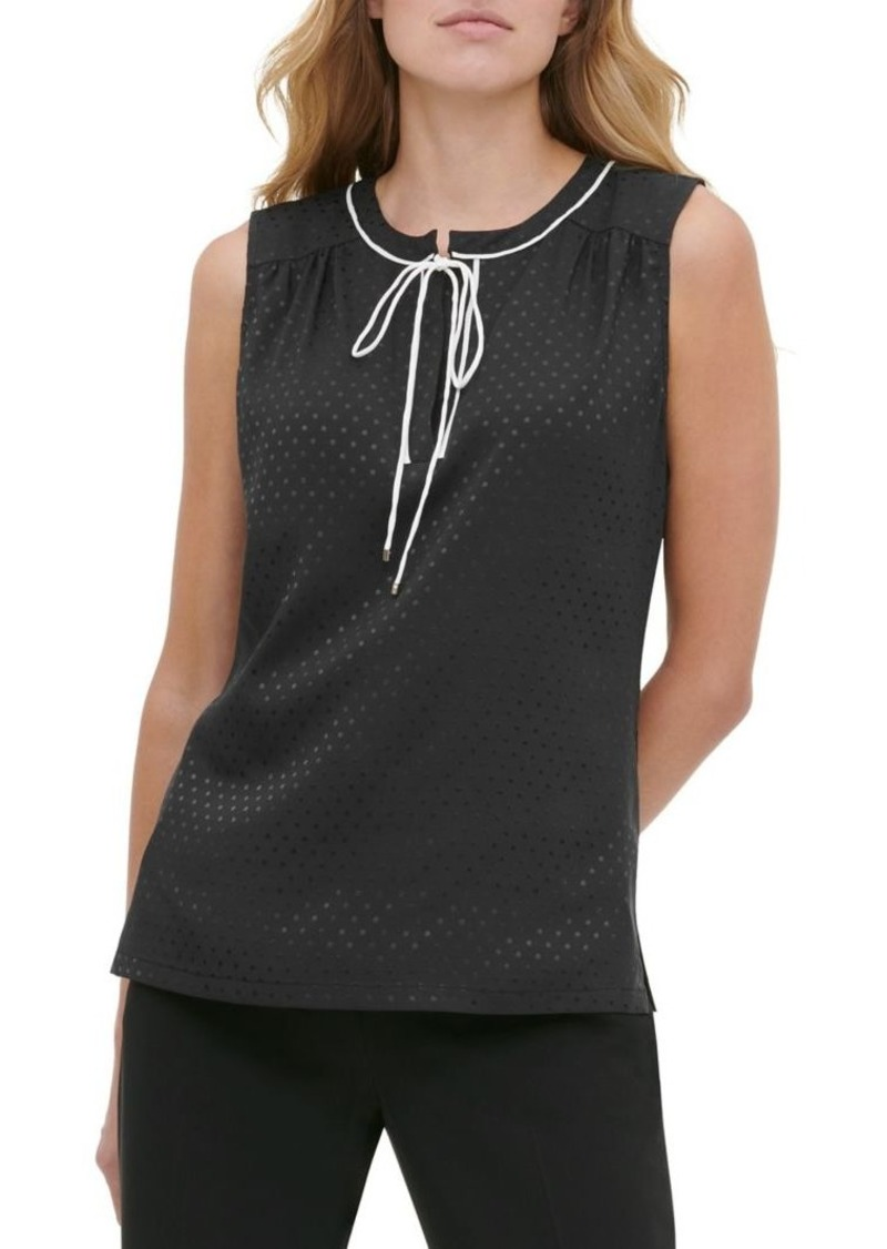Tommy Hilfiger Contrast Dotted Tie-Neck Sleeveless Top