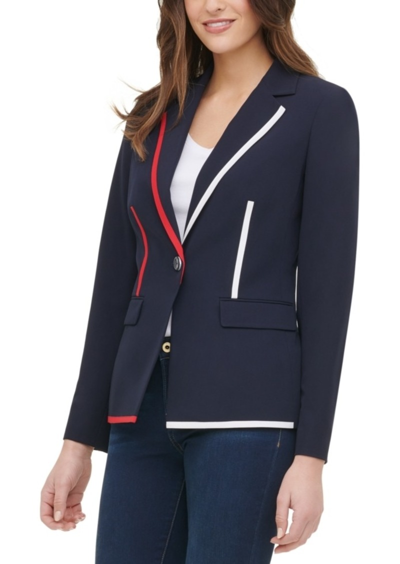 Tommy Hilfiger Contrast Piping Button Blazer