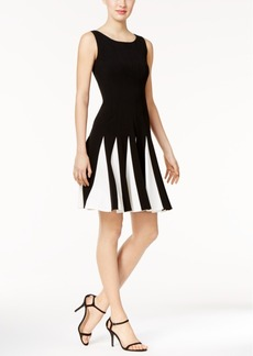 Tommy Hilfiger Contrast Pleated Scuba Fit & Flare Dress