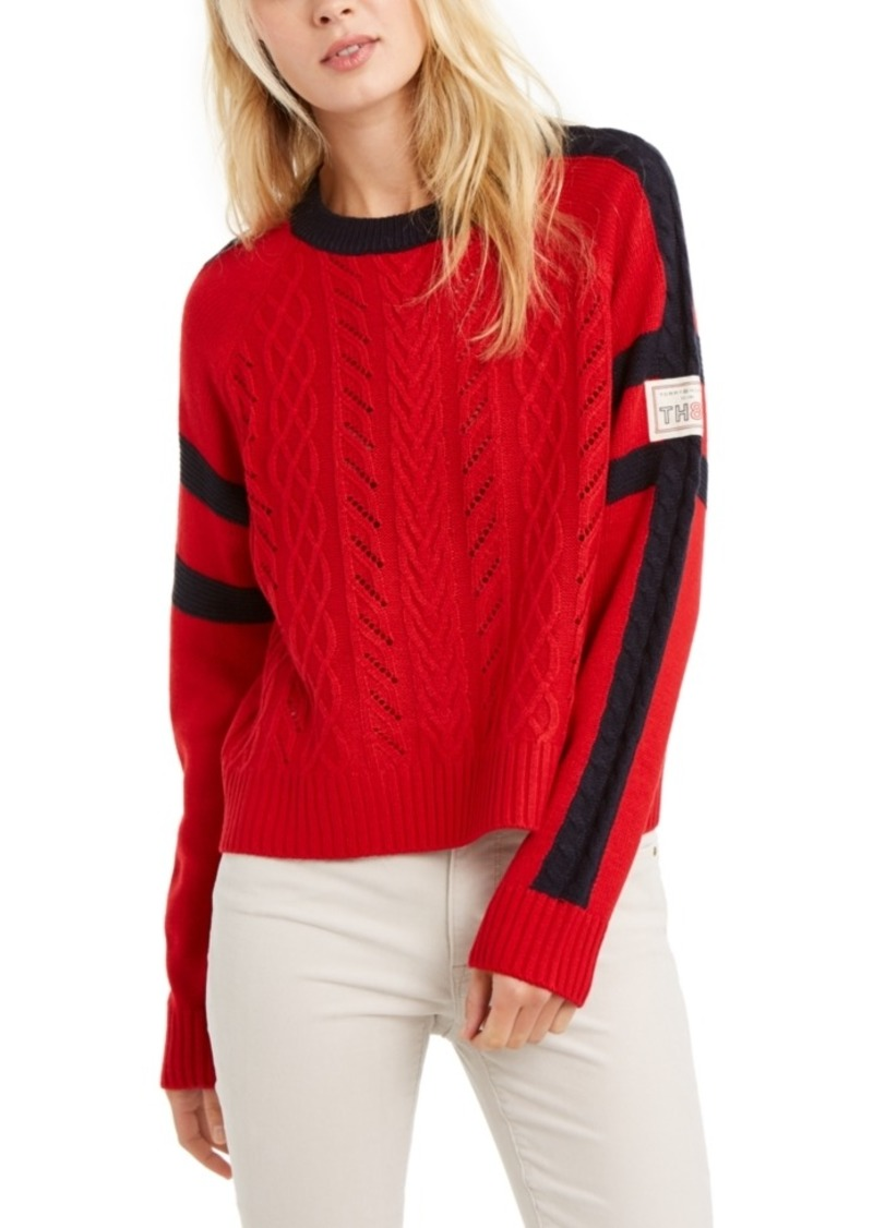 Tommy Hilfiger Contrast-Trim Cable-Knit Sweater, Created For Macy's