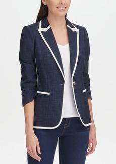 Tommy Hilfiger Denim Contrast-Trim One-Button Jacket