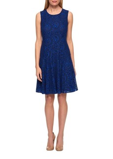 Tommy Hilfiger Corded Paisley Lace Fit-and-Flare Dress