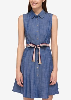 Tommy Hilfiger Cotton Belted Shirtdress, Only at Macy's